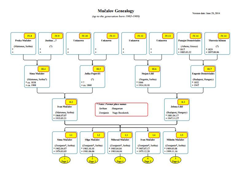 Mučalov family tree